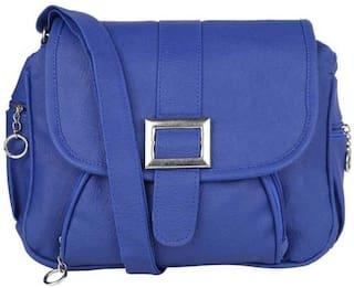 SaleBox Blue PU Solid Sling Bag