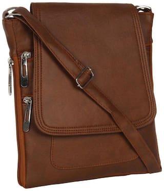 SBS Bags Brown PU Solid Sling Bag
