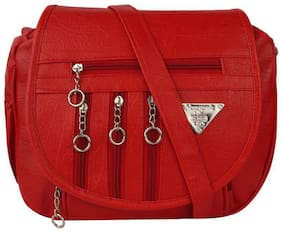 SBS Bags Red PU Solid Sling Bag