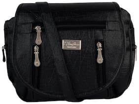 SBS Bags Black PU Solid Sling Bag