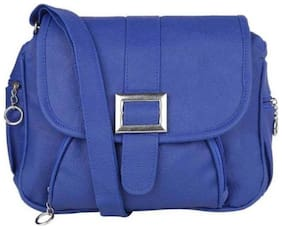 SBS Bags Blue PU Solid Sling Bag