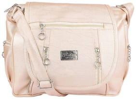 SBS Bags Beige PU Solid Sling Bag