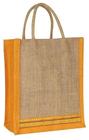 SellnShip EcoFriendly Jute Bag Lunch Bag Gift bag Shopping Bag for Women, Men with Zip Handle, Ideal for Lunch Bag
