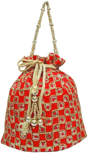 SHREE SHYAM PRODUCTS Red Silk Potli Bag