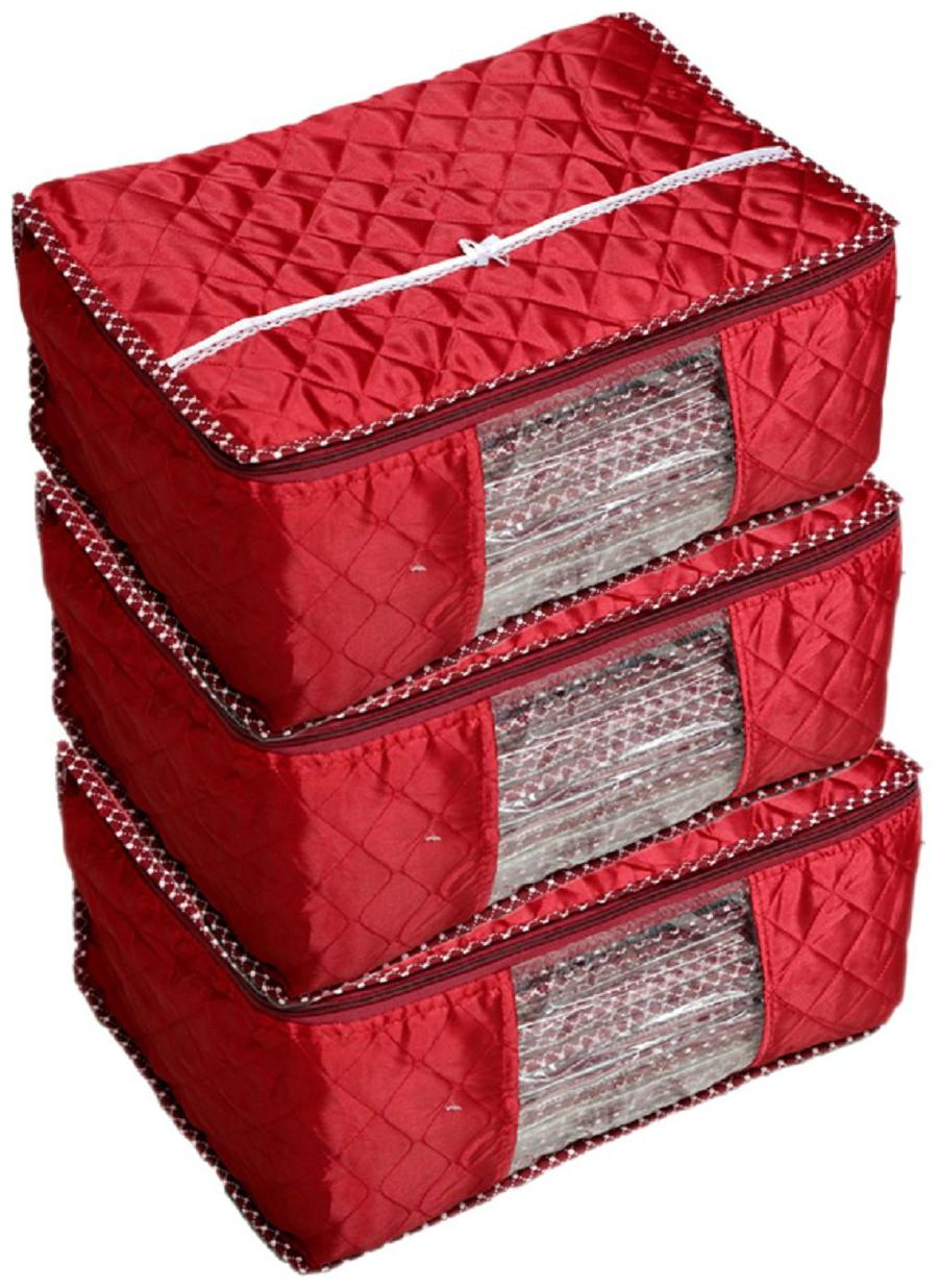 Shree Shyam Products Maroon Box Saree Cover;3 Pcs Set;Layered Quilted Maroon  10 15 Sarees Capacity