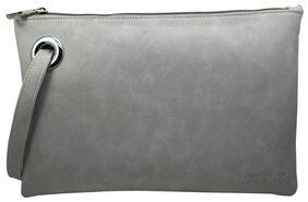 Skor-NX Women Faux Leather Clutch - Grey
