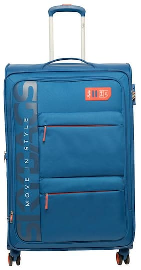 Skybags Vanguard Large Size Soft Luggage Bag ( Blue , 8 Wheels )