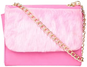 Do Bhai Women Solid Fur - Sling bag Pink