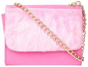 Do Bhai Women Solid Fur - Sling Bag Pink