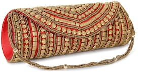 SONTRONIX Women Embellished Silk - Clutch Red