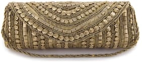 SONTRONIX Women Embellished Silk - Clutch Gold