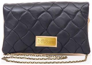 Sophia Visconti Blue Leather Sling Bag & Get 1 Designer Scarf  Free (Assorted)