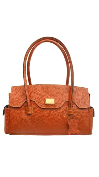 Sophia Visconti Orange Leather Handbag & Get 1 Designer Scarf  Free (Assorted)