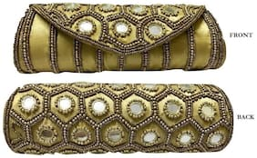 SPHINX Contemporary Ethnic handcrafted Golden hand bag/clutch for Women/Girls - 1 Piece ( Pattern may vary)