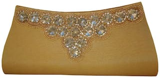 Spice Art Women Yellow Canvas Clutch