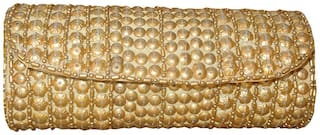 Spice Art Women Solid Canvas - Clutch Yellow