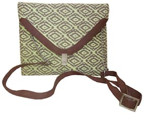 Spice Art Women Solid Canvas - Clutch Green