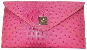 Spice Art Women Solid Faux Leather - Clutch Pink