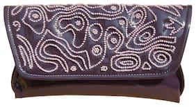 Spice Art Women Solid Faux Leather - Clutch Purple