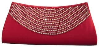 Spice Art Women Solid Canvas - Clutch Red