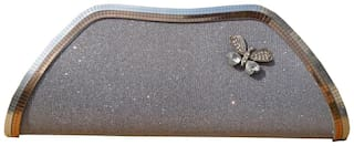 Spice Art Women Solid Faux Leather - Clutch Silver