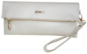 Spice Art Women Solid Faux Leather - Clutch White