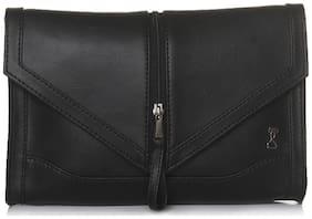 Srota Women Solid Faux Leather - Clutch Black