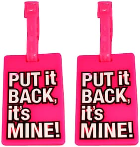 Stealodeal |Pack of 2|Pink Put It Back Its Mine Travel Bag Luggage Tag
