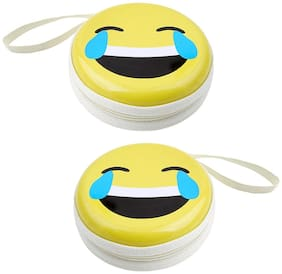 Stealodeal ST-E|Pack of 2| Multicolor Aluminium Round Zipper Earphone Case