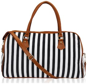 Striped Spacious Unisex Weekend Travel Duffle Bag for Women / Girls (Black) (ECO2007KL-BL)