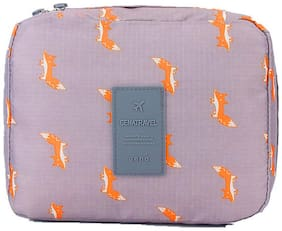 Style Homez KYILE, Travel Cosmetic Makeup Carrying Pouch Bag cum Organizer for Women, Toiletry Kit and Jewellery Organizer,  Grey Fox Color