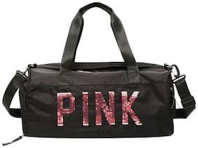 Style Homez SEQUINS, 30 litre Unisex Large Capacity Shoulder Weekend Travel Portable Duffle Gym Bag, Black Color