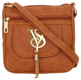 Women Typography Leather - Sling Bag Tan