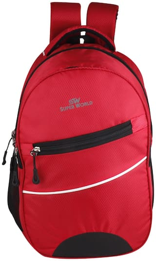 SUPER WORLD Red Waterproof Polyester Backpack