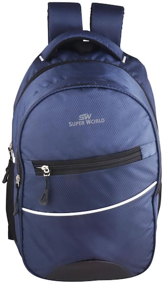 SUPER WORLD Blue Waterproof Polyester Backpack