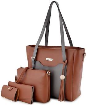 SHELLEX Regular Self Design Shoulder Bag Brown