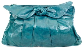 Stylogy Women Solid Leather - Clutch Green