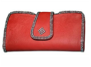 Stylogy Women Solid Leather - Clutch Red