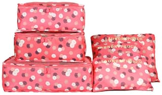 SWADEC Set of 6 Bags Waterproof Cubes Travel Packing Luggage Cloth Organizer Storage Compression Pouch Laundry Zipper Bags-ORANGE FLORAL