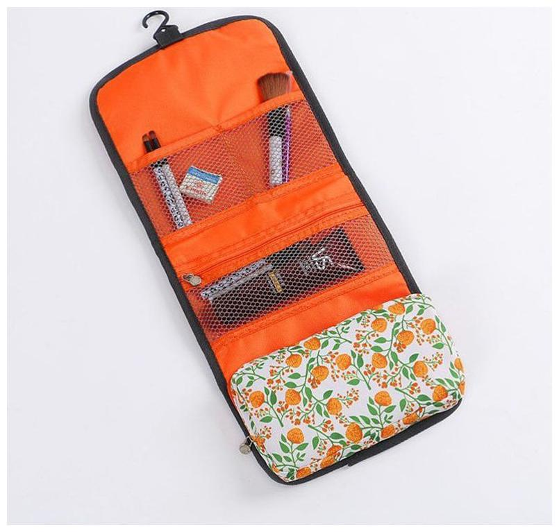 Swadec Travel Hanging Toiletry Kits Waterproof Floral Cosmetic Bag Triple Foldable Toiletry Bag ORANGE