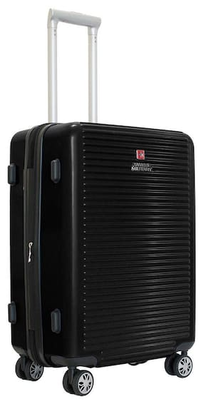 8e3920cf6 Swiss Military 24 Inch Black Hard Shell Trolley Suitcase (HTL-17)
