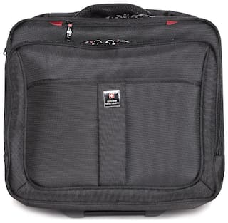 Swiss Military Large Size Overnighters Bag ( Black , 2 Wheels )