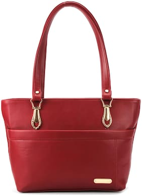 T SQUARE Red Synthetic Handheld Bag