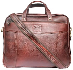 Tamanna Brown Leather Laptop Backpack