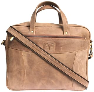 Tamanna Tan Leather Laptop backpack