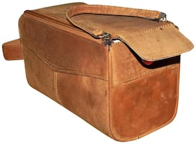 Tan Genuine Leather Travel Toiletry Kit/Multipurpose Bag cum Travel Pouch For Men