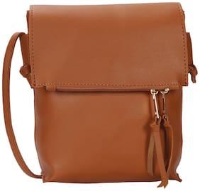 Bagkok Tan PU Solid Sling Bag