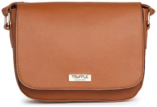 Truffle Collection Women Solid Pu - Sling Bag Brown