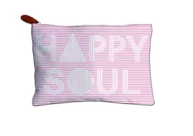Techbyte Canvas Multipurpose Zipper Pouch Cosmetic Bag Travel Case For Girls & Women and Gift Purpose (Happy Soul-Striped, Pink)