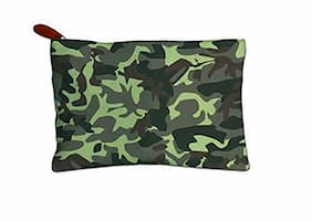 Techbyte Canvas Multipurpose Zipper Pouch Cosmetic Bag Travel Case For Girls & Women and Gift Purpose (Military Print, Green)